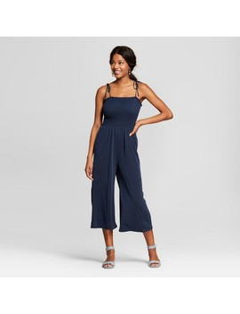 Women's Smocked Tie Strap Jumpsuit   Le Kate (Juniors') Blue by Le Kate