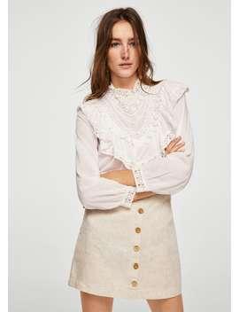Button Linen Skirt by Mango