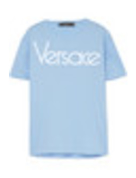 Logo Embroidered Cotton Jersey T Shirt by Versace