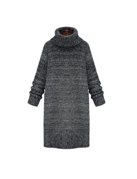 Womens Winter Long Sweater Thickening Knitting Dress Loose Stand Collar Z1817 by Unbranded