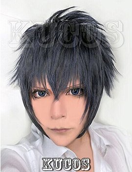 Happylifehere Japanese Game Short Layered Cosplay Costume Wig (Blue, Gray And Black Mixed) by Happylifehere