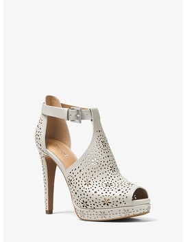 Alyssa Perforated Leather Open Toe Bootie by Michael Michael Kors