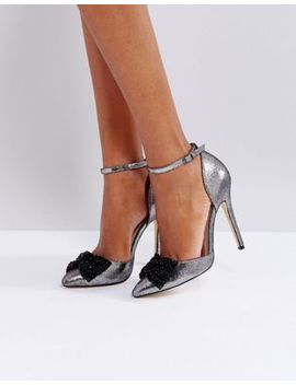 London Rebel Bow Two Part Point High Heels by Shoes