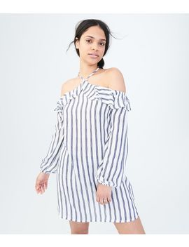Long Sleeve Striped Halter Shift Dress by Aeropostale