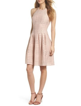 Laser Cut Fit & Flare Halter Dress by Eliza J