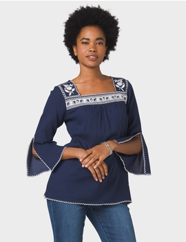 Embroidered Peasant Top by Dressbarn