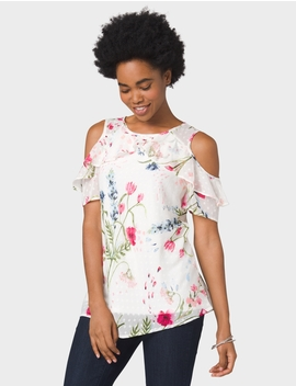 Cold Shoulder Floral Blouse by Dressbarn