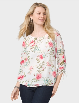 Floral Cinched Sleeve Blouse by Dressbarn