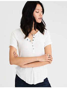 Ae Soft & Sexy Henley Snap Front T Shirt by American Eagle Outfitters