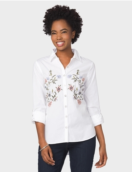 Westport Embroidered Blouse by Dressbarn