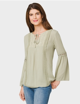Westport Crochet Lace Peasant Top by Dressbarn