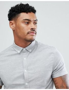 Asos Casual Stretch Skinny Short Sleeve Oxford In Light Gray by Asos