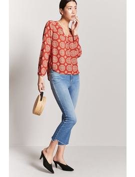 Crepe Medallion Print Top by F21 Contemporary