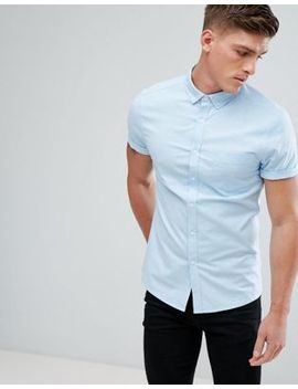 Asos Casual Skinny Shirt With Short Sleeves In Blue by Asos