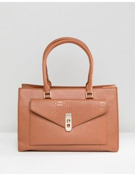 Paul Costelloe Real Leather Tan Tote With Snake Embossed Pocket by Bag