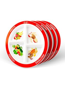 My Plate Divided Kids Portion Plate, 4 Pack, 4 Fun & Balanced Sections For Picky Eaters by Super Healthy Kids
