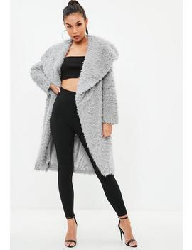 Gray Longline Shaggy Faux Fur Coat by Missguided