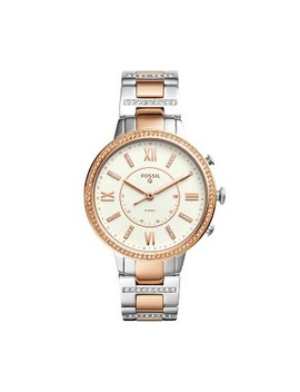 Fossil Hybrid Smartwatch   Virginia 41mm Two Tone Stainless Steel With Glitz by Fossil