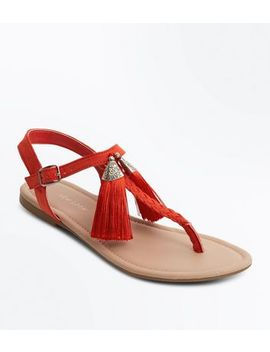 Red Tassel Toe Post Sandals by New Look