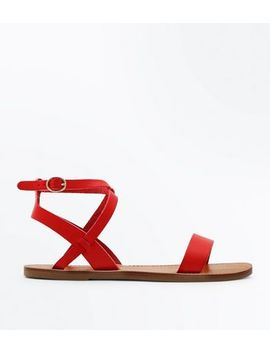 Red Cross Strap Sandals by New Look