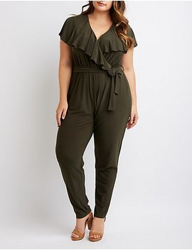 Plus Size Ruffle Trimmed Jumpsuit by Charlotte Russe