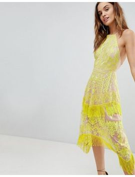 Asos Embroidered Square Neck Fringe Hem Midi Dress by Asos Collection