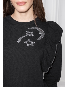 Ruffle Shoulder Embroidered Pullover by & Other Stories