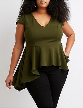 Plus Size V Neck Asymmetrical Peplum Top by Charlotte Russe