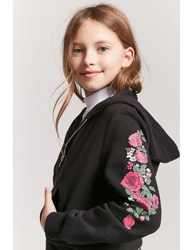 Girls Fleece Knit Floral Sleeve Hoodie (Kids) by F21 Contemporary
