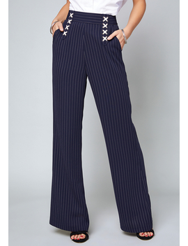 Avery Striped Lace Up Pants by Bebe