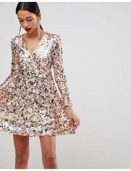 Club L Rose Gold Mini Disc Sequins Wrap Over Skater Dress by Club L