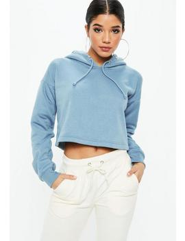 Blue Cropped Hoodie by Missguided