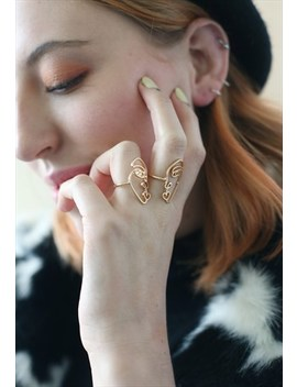 Gold Linear Abstract Face Ring Set by And Her London