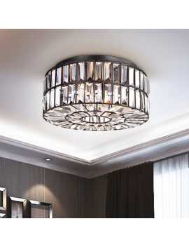 Silver Orchid Taylor Crystal Glass Prism Flush Mount Chandelier In Antique Black by Silver Orchid