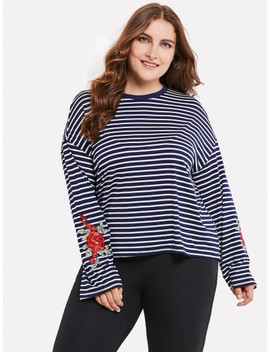 Contrast Stripe Embroidery Tshirt by Sheinside