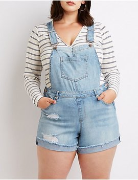 Plus Size Dollhouse Destroyed Overalls by Charlotte Russe