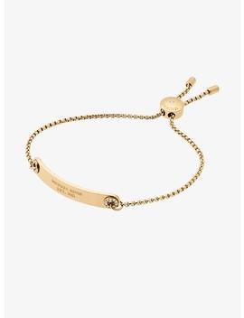 Pavé Gold Tone Logo Plaque Slider Bracelet by Michael Kors
