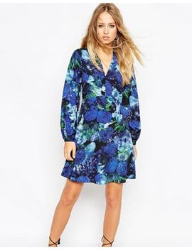 Needle & Thread Enchanted Floral Print Skater Dress With Bell Sleeve by Needle & Thread
