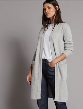 Wool Rich Open Front Longline Cardigan by Autograph