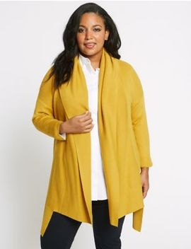 Curve Dipped Hem Shawl Collar Cardigan by M&S Collection