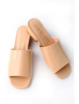 Plantain Nude Patent Mules by Coconuts