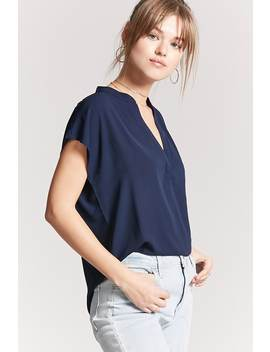 Mandarin Collar Woven Top by F21 Contemporary