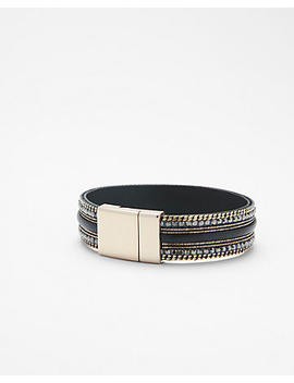 Leather And Rhinestone Turnlock Bracelet by Express