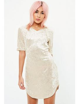 Cream Crushed Velvet Sweater Dress by Missguided