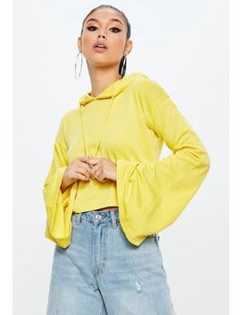 Yellow Cropped Flared Sleeve Hoodie by Missguided