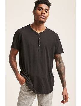 Curved Hem Henley Tee by Forever 21