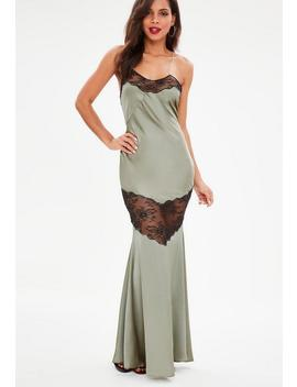 Green Satin Silk Lace Strappy Maxi Dress by Missguided
