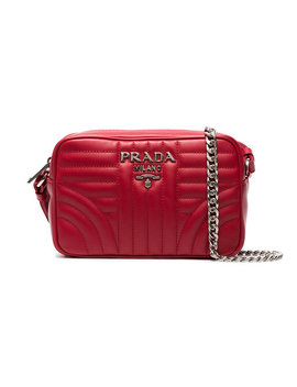Red Diagramme Leather Cross Body Bag by Prada