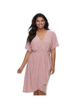 Juniors' Plus Size Wrapper Kimono Faux Wrap Dress by Kohl's