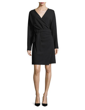 Long Sleeve Draped Crepe Wrap Dress by Neiman Marcus